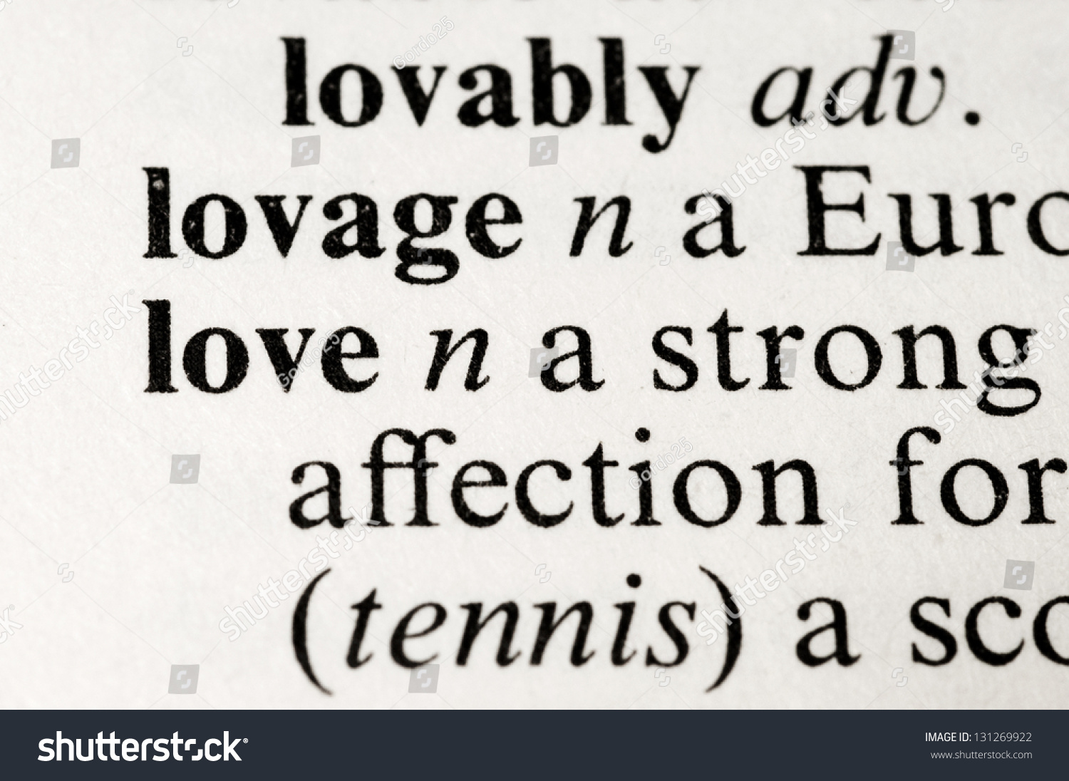 The Dictionary Word Love Isolated On White Background