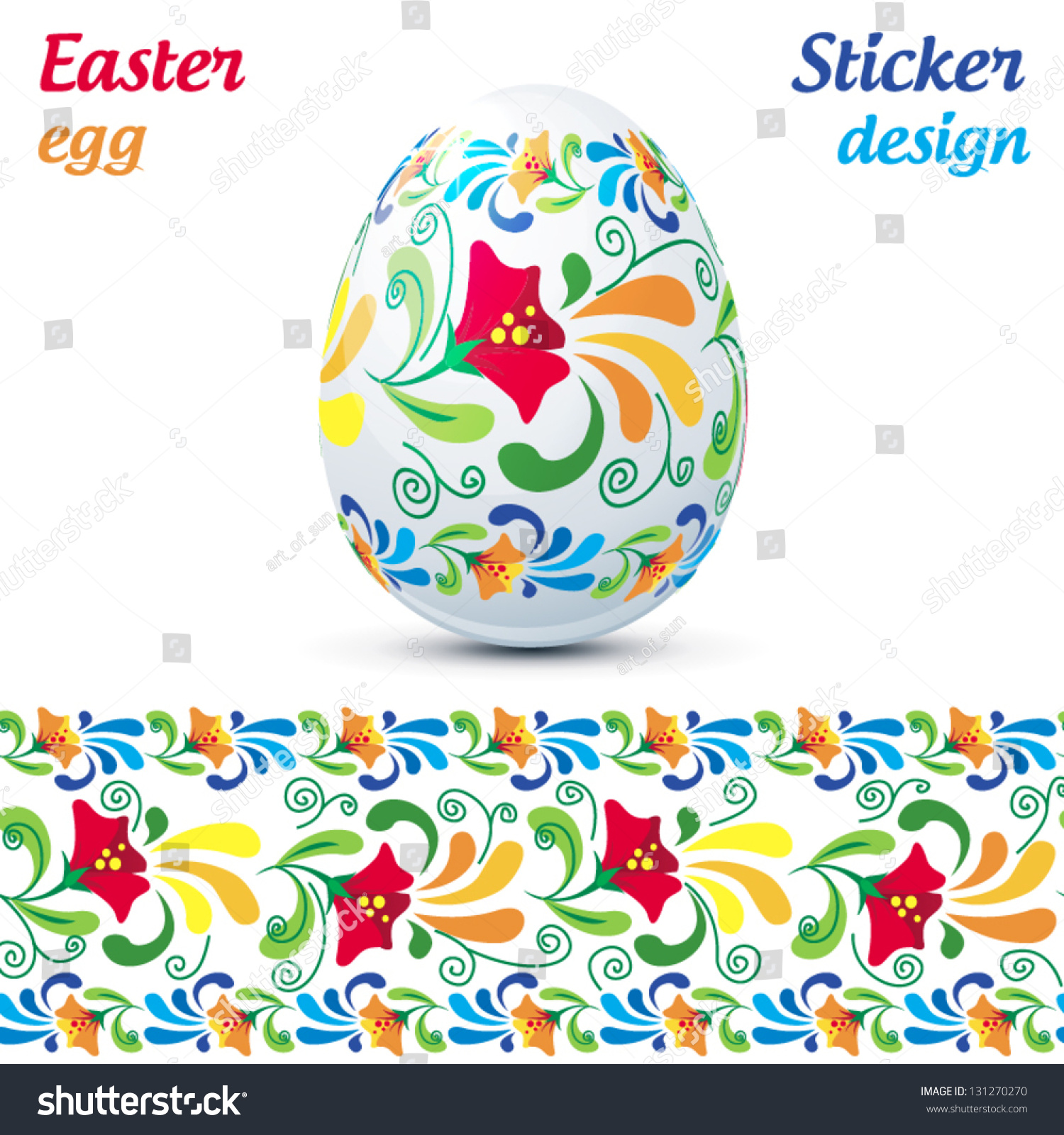 Traditional Ornate Easter Eggs Sticker Design Stock Vector (Royalty
