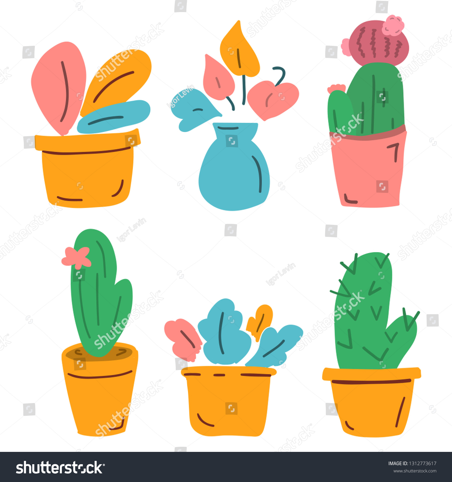 Set of home plants vector illustration for greeting card t shirt print stickers posters design on white background vector