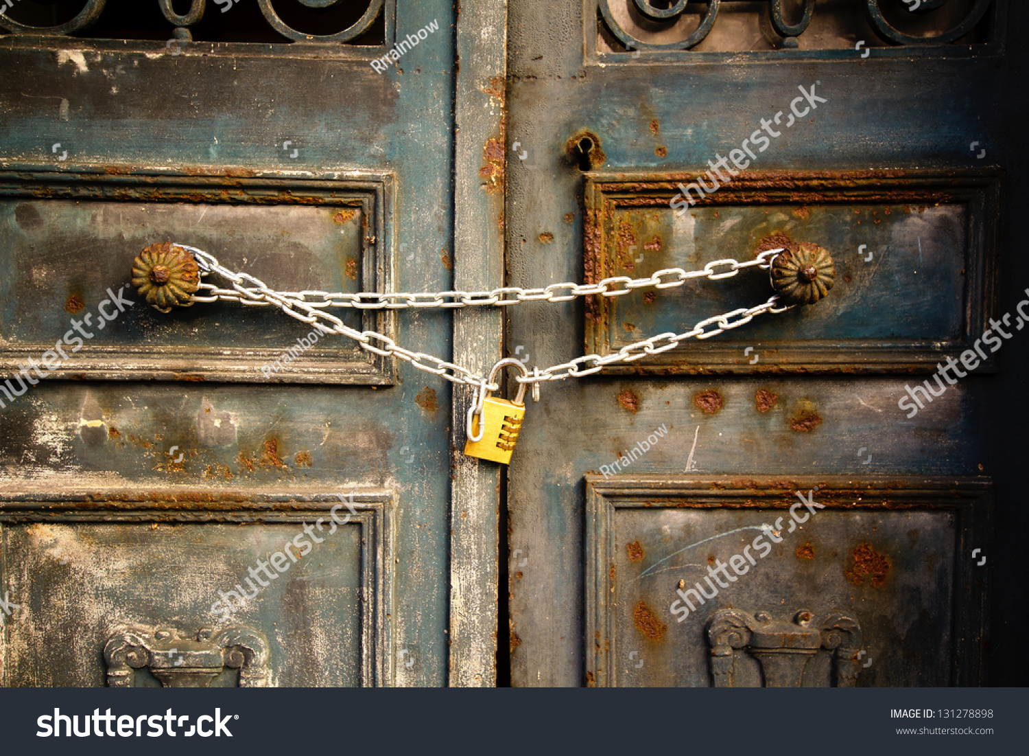 Rusty Door old rusty door lockedchain stock photo 131278898 - shutterstock