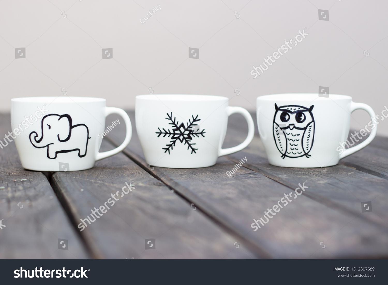 White Ceramic Mugs Permanent Marker Drawing Stock Photo Edit Now 1312807589