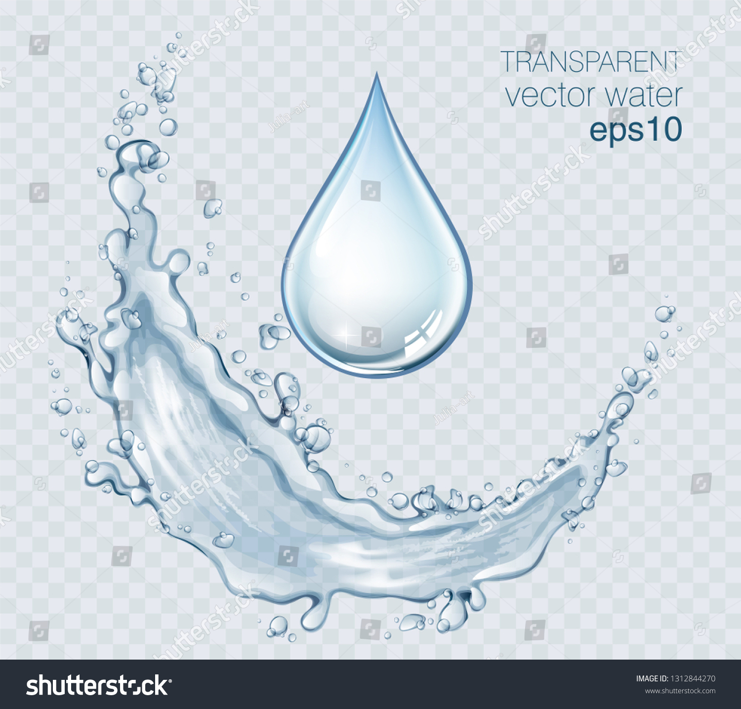 Transparent vector water splash and wave on light background