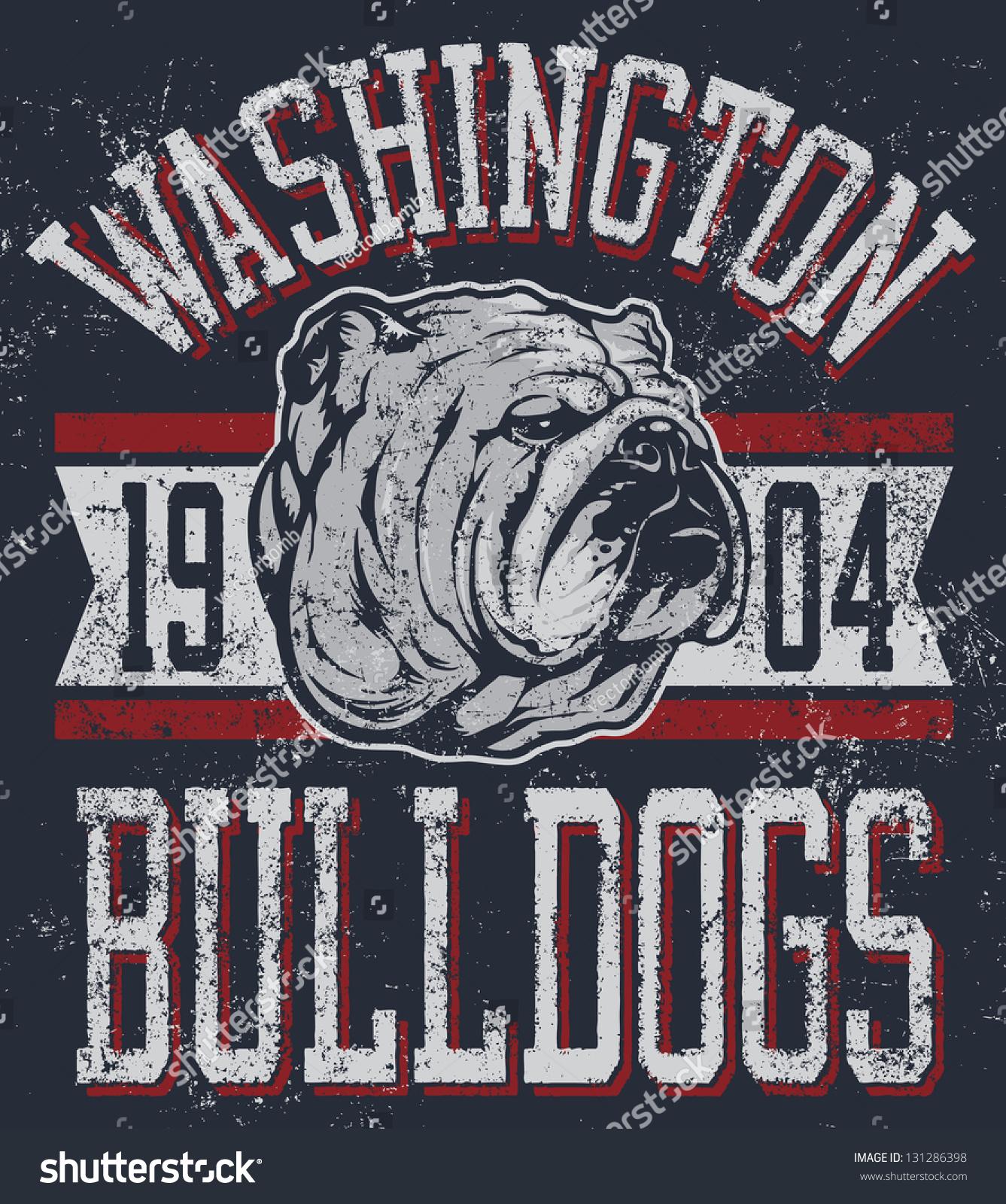 Shirt design course - Three Color Retro Bulldogs Athletic T Shirt Design Complete With Bulldog Mascot Vector