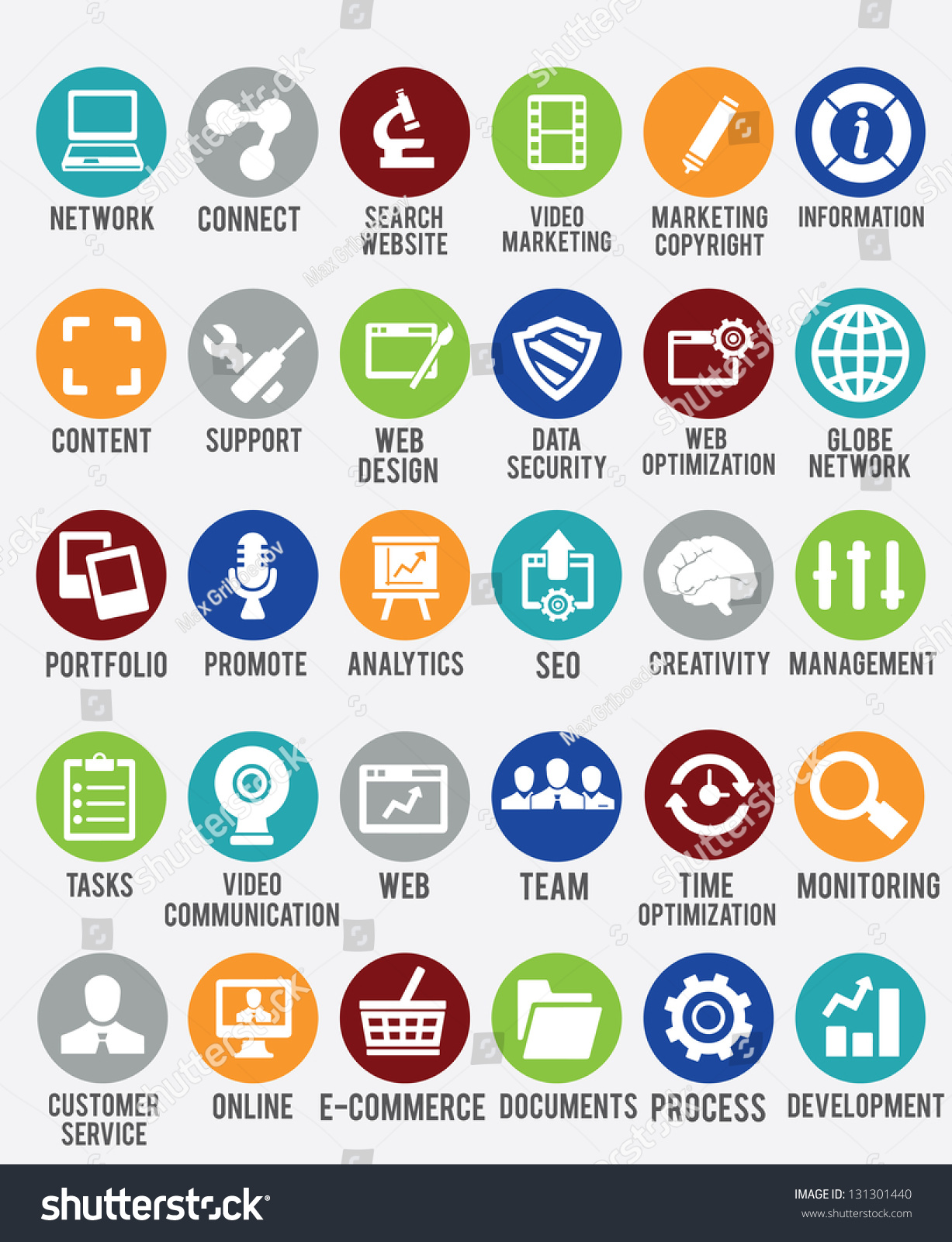 set internet services icons vector icons stock vector 131301440