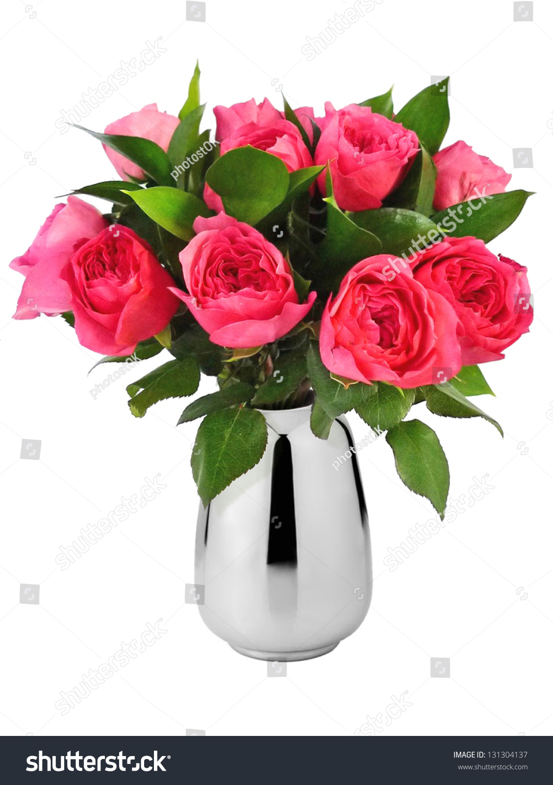 Beautiful Bouquet Red Roses Vase Stock Photo 131304137 ...