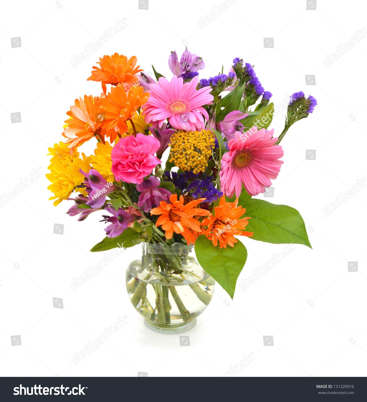 Bouquet Dahlia Flowers Vase Stock Photo (Download Now) 131320916 ...
