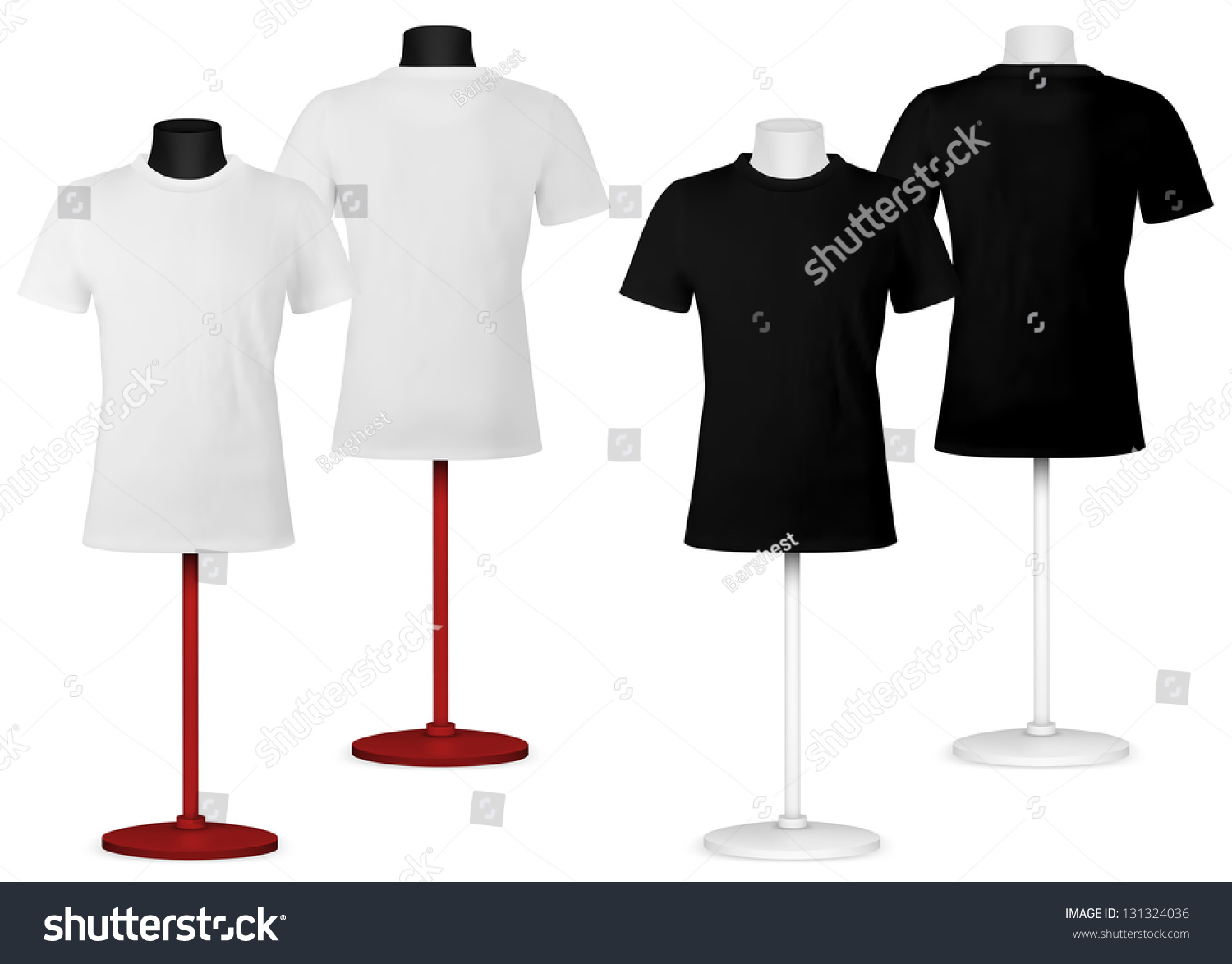 Black t shirt front and back plain - Plain T Shirt On Mannequin Torso Template Front And Back Views