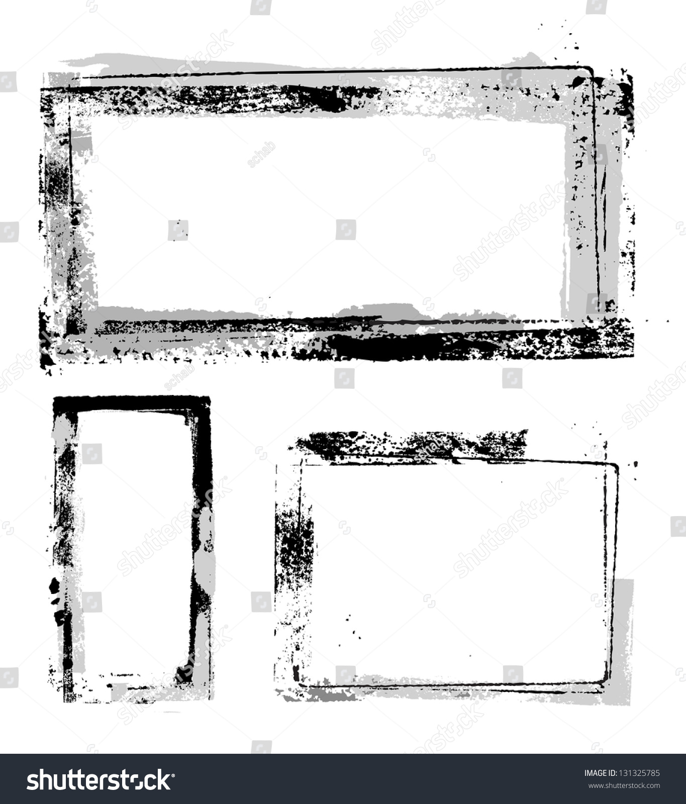 Vector Grunge Frames Separate Elements Easy Stock Vector 131325785 ...