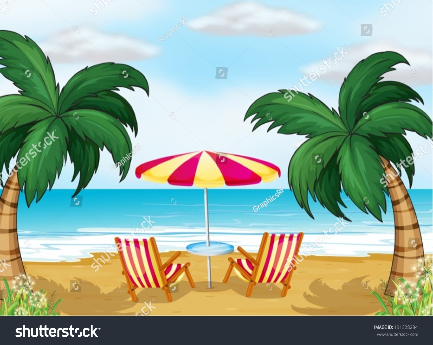Beach with chairs - Illustration Of The View Of The Beach With A Beach Umbrella And Chairs