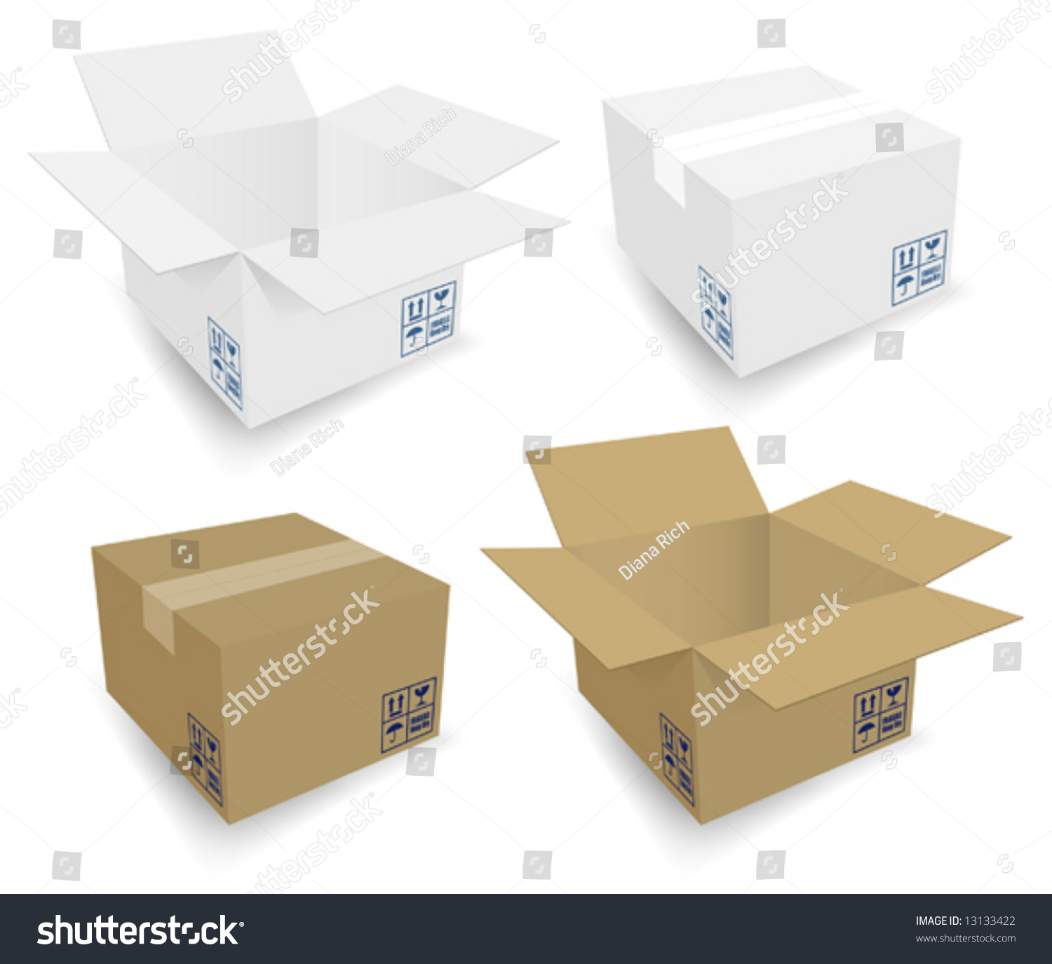 Cardboard Boxes Icons Open & Closed. Same Box, White And