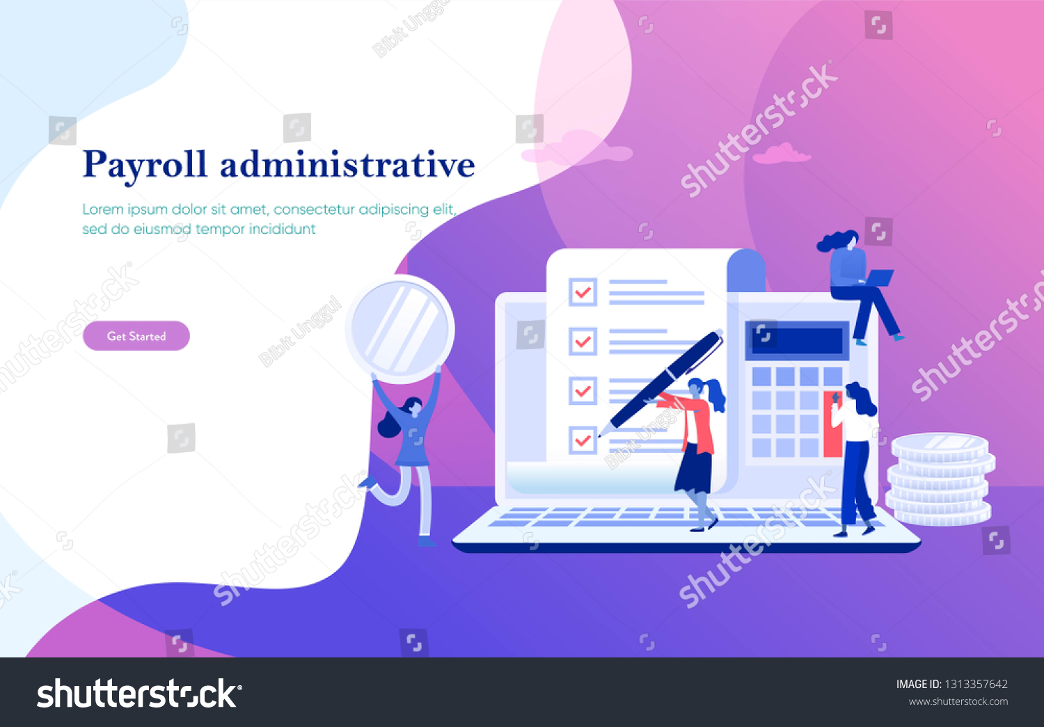Payroll Salary Payment Administrative Vector Illustration Stock