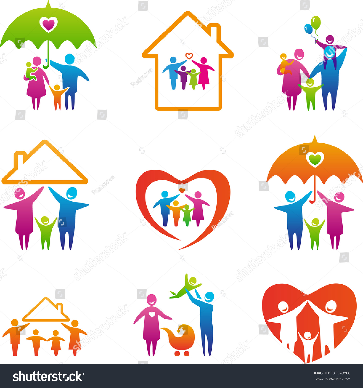 big set family icons happy family stock vector 131349806