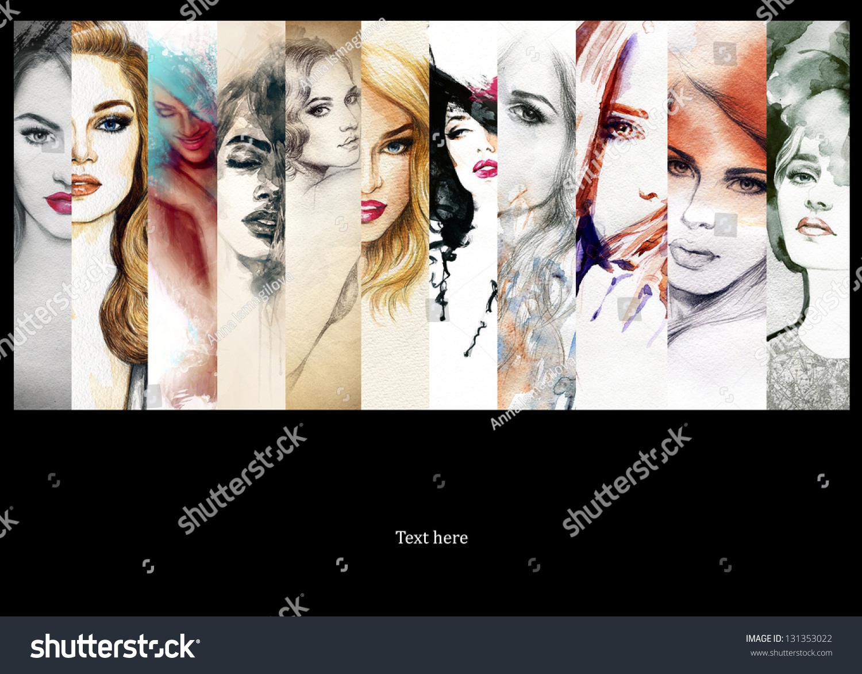 Beautiful Collage Faces Women Hand Painted Ilustración de ...