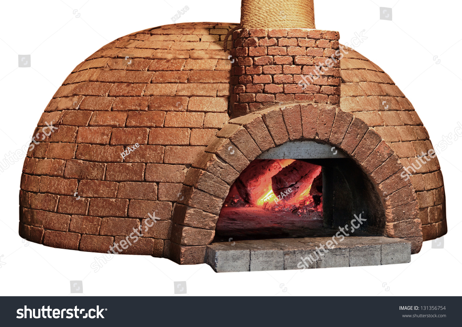 Old Brick Pizza Oven Isolated On A White Background
