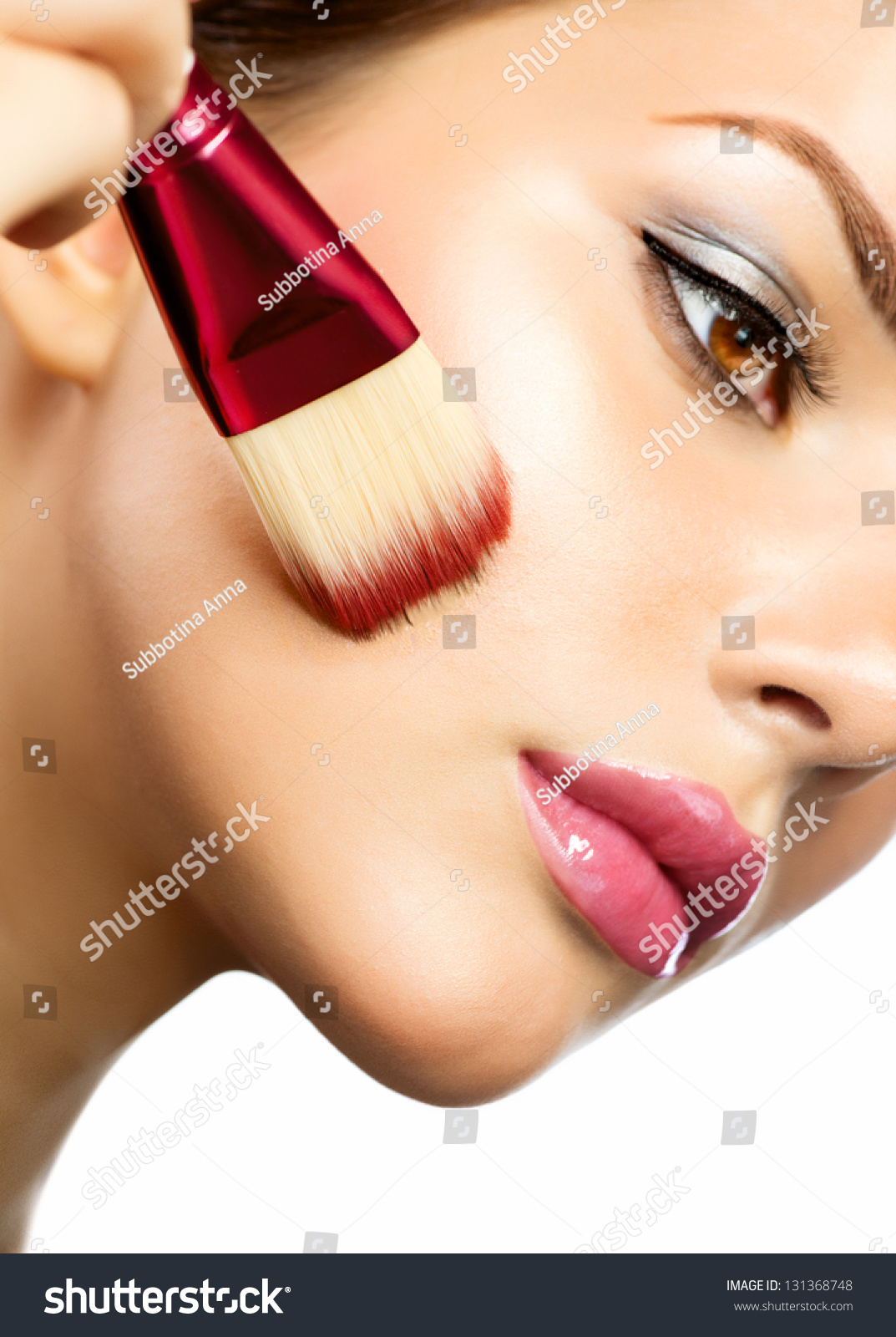 Makeup Applying Foundation Perfect Makeup Apply Stock Photo Edit Now 131368748
