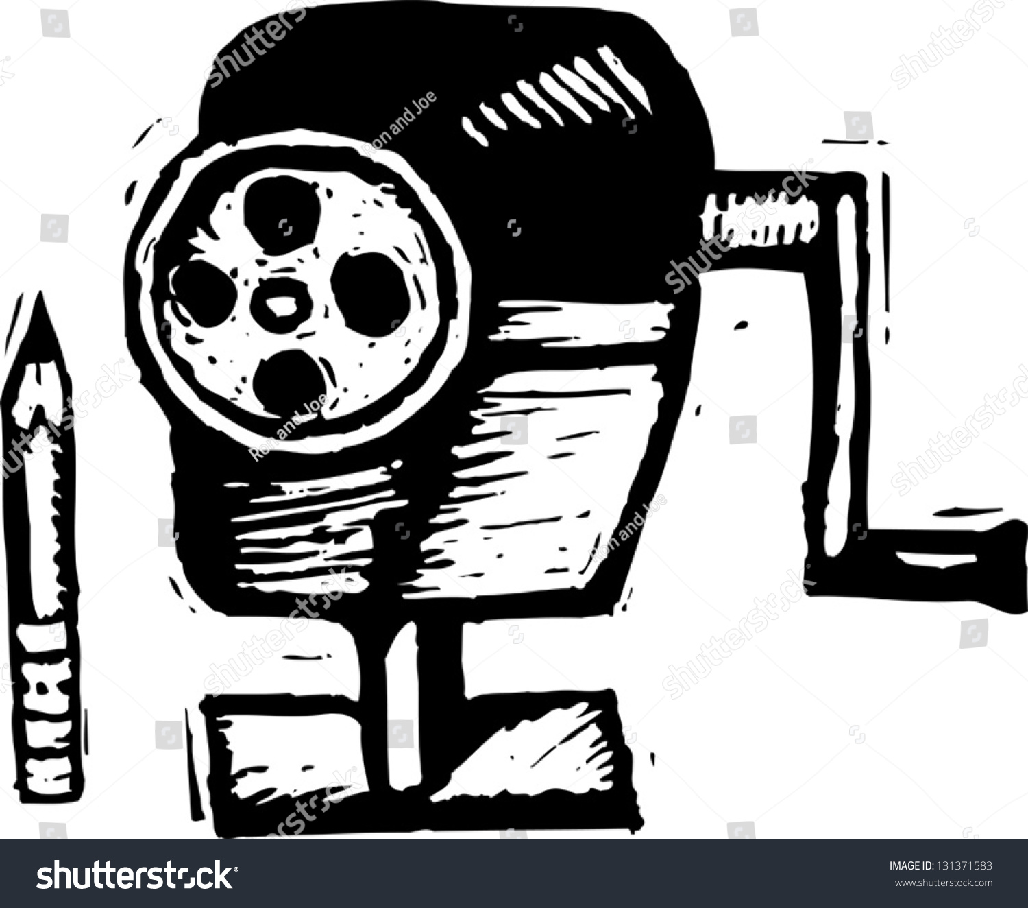 black white vector illustration pencil sharpener stock vector