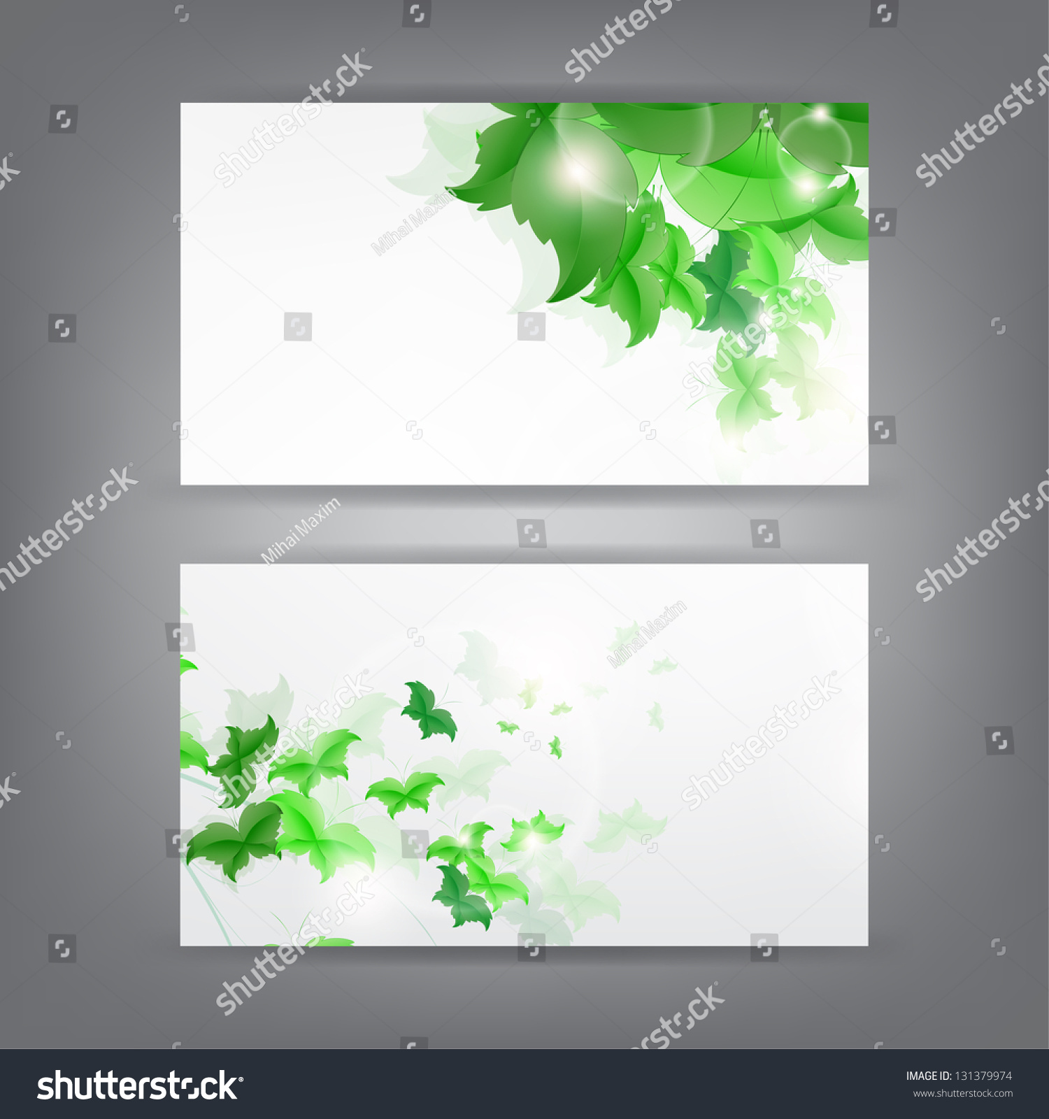 Environment Theme Business Card Template Green Stock Illustration ...