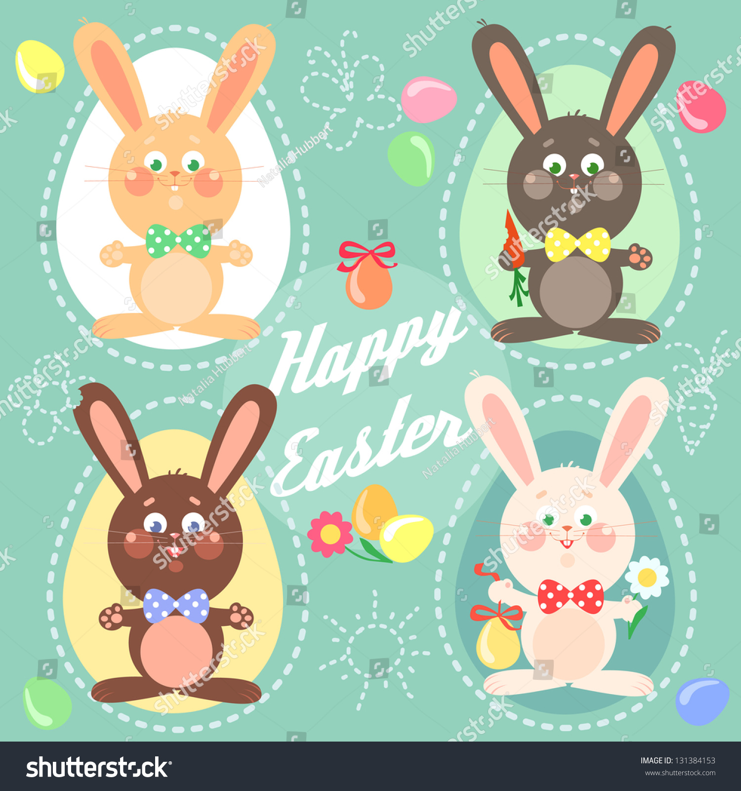 happy easter card easter bunnies eggs stock vector 131384153