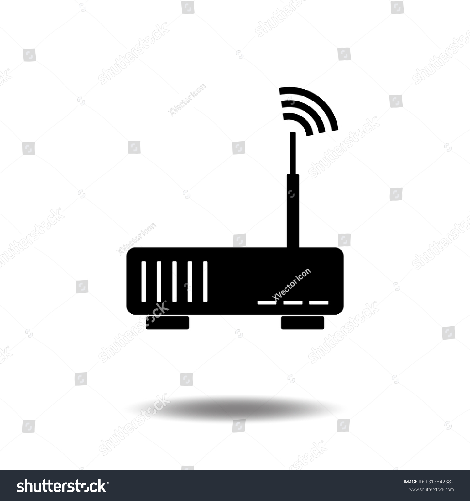 router wifi icon vector internet wireless modem flat sign symbols logo line  illustration isolated on white background black color