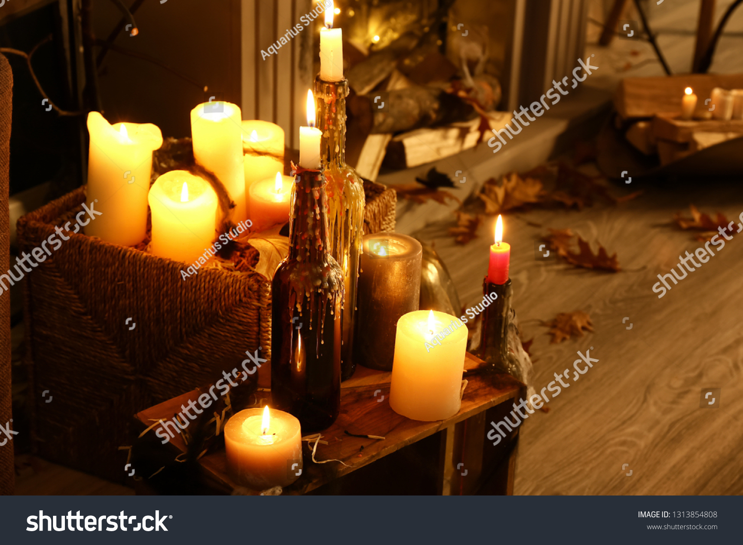 Burning Candles Decor Halloween Party Room Stock Photo Edit Now 1313854808