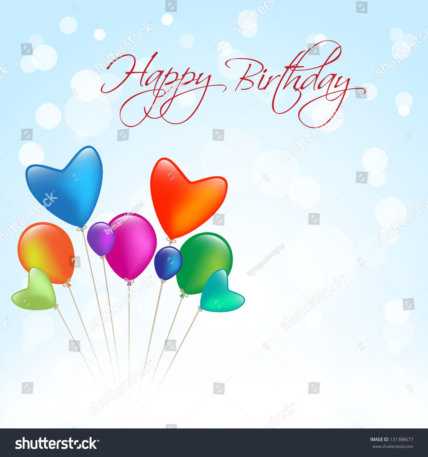 Happy Birthday Invitation Colored Balloon Stock Vector (Royalty Free ...