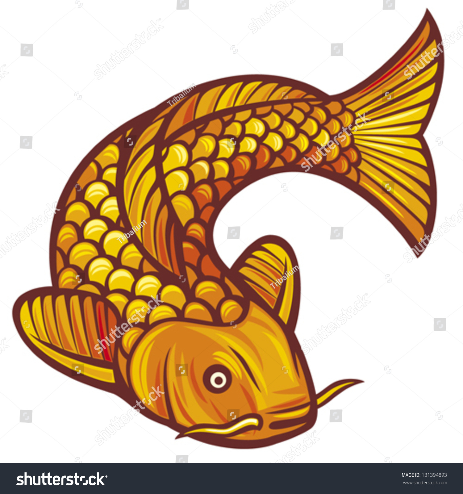 Vector Illustration Japanese Chinese Inspired Koi Stock Vector ...