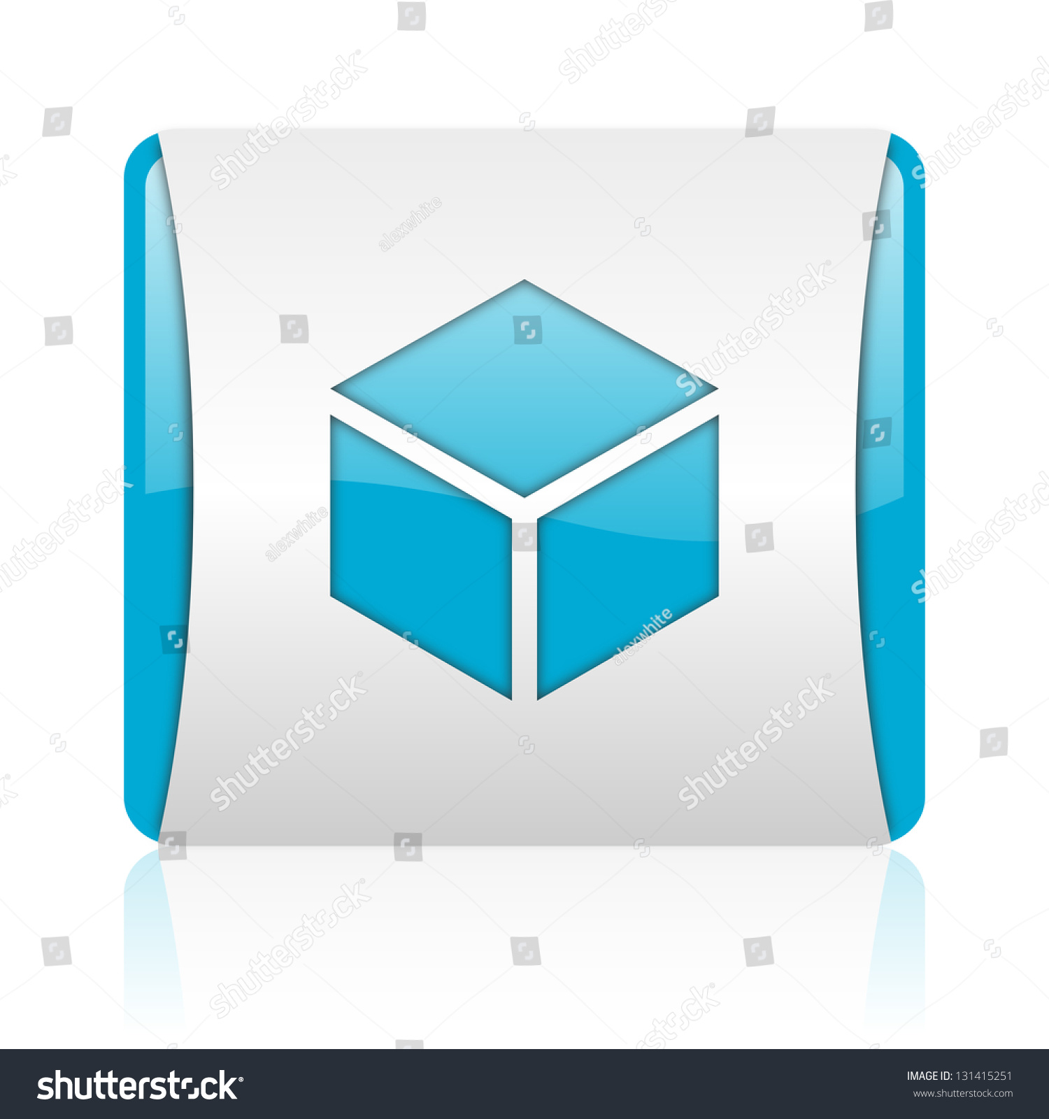 Box Blue White Square Web Glossy Stock Illustration 131415251