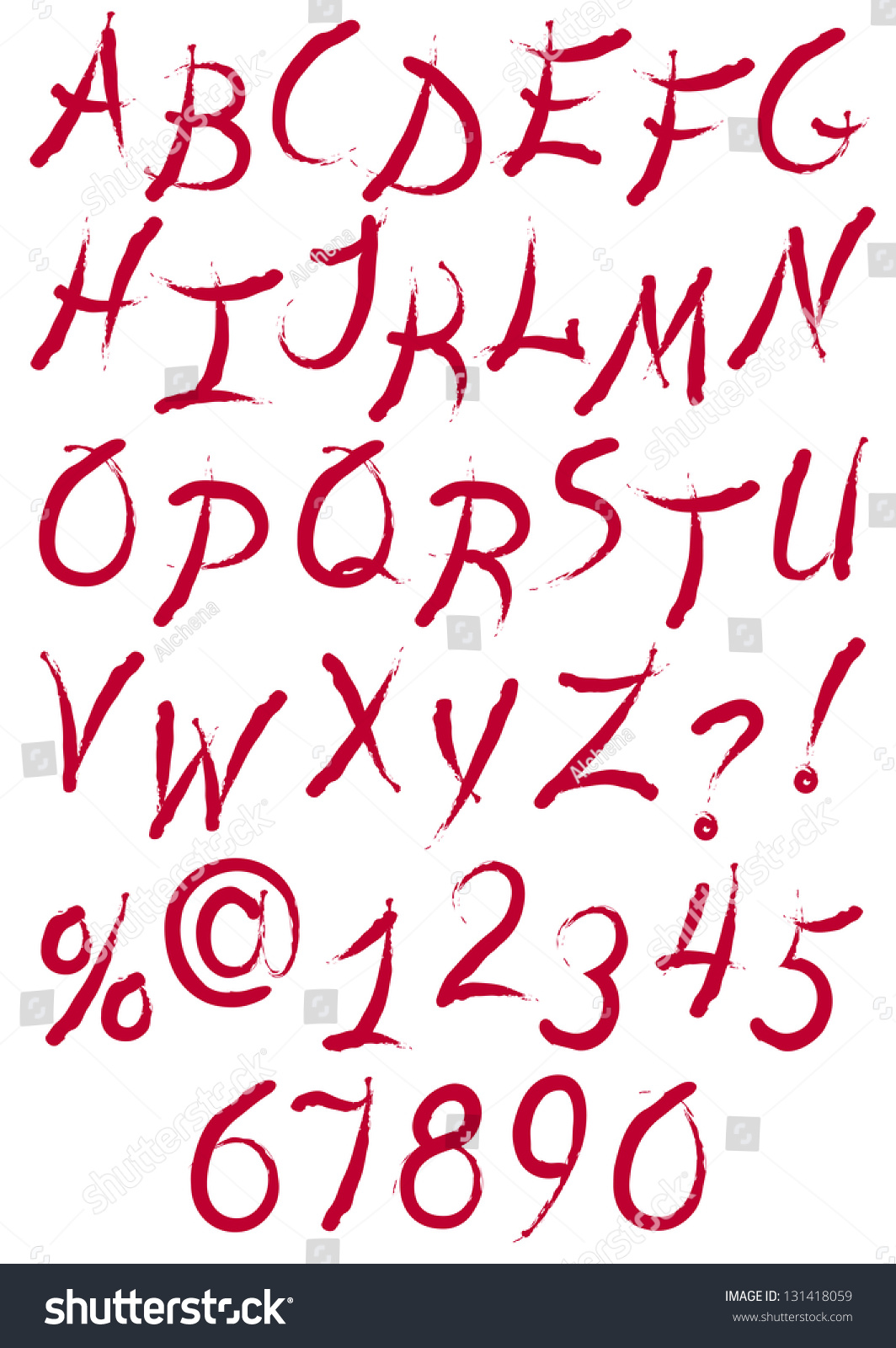 Vector ink alphabet with letters,punctuation marks and signs, like ...