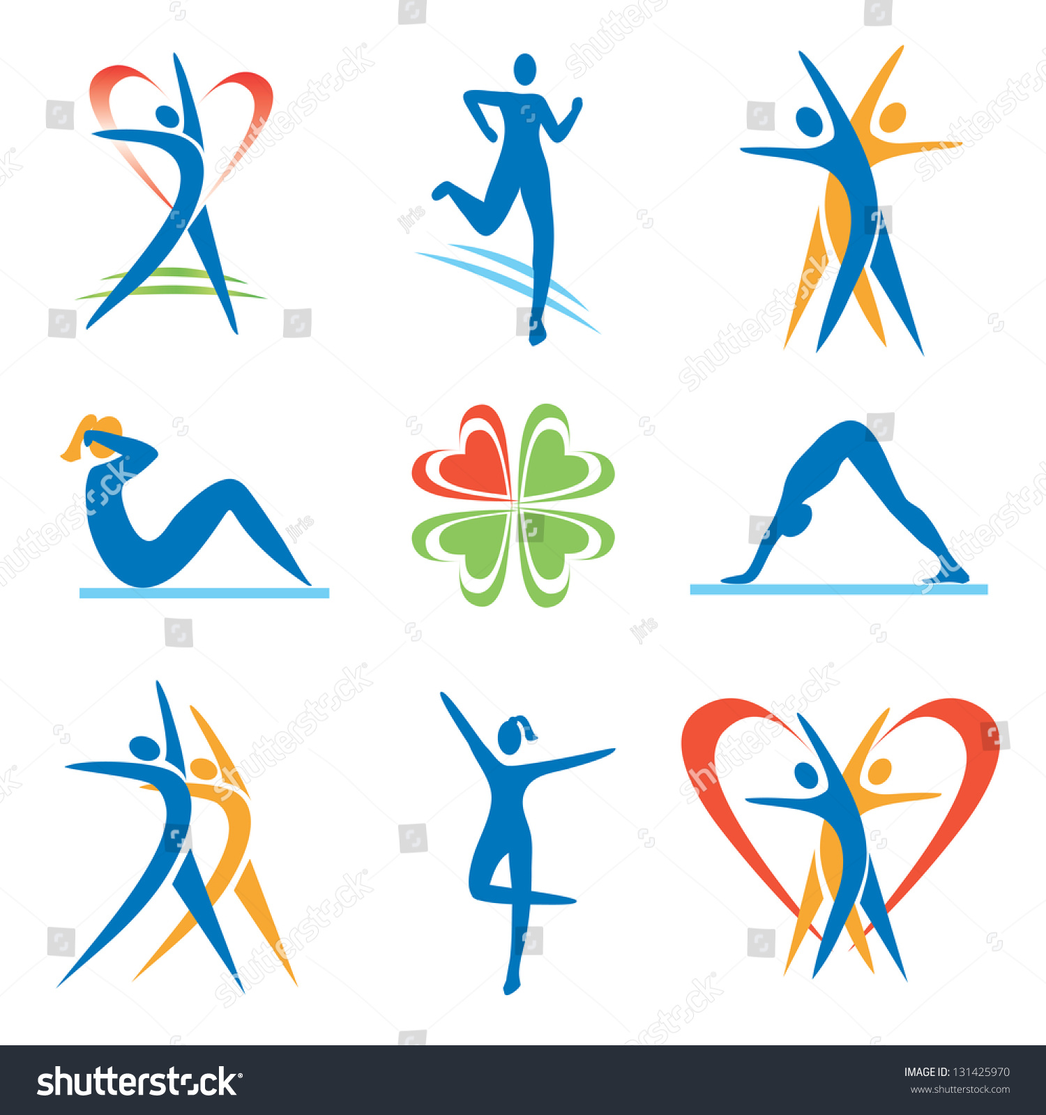icons with fitness and healthy lifestyle symbols  vector