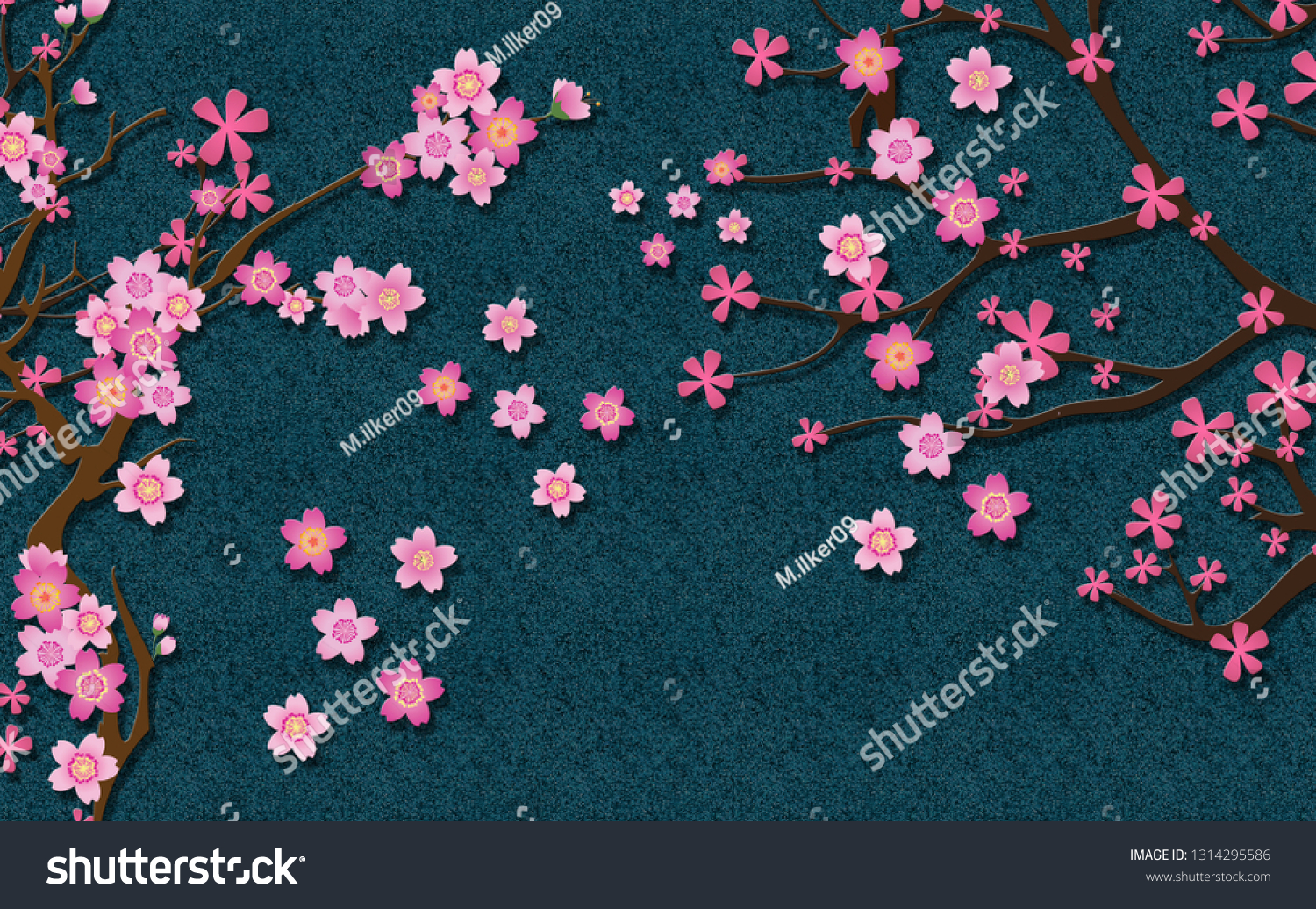 3d Wallpaper Design Blossom Flowers Glitter Stock Illustration