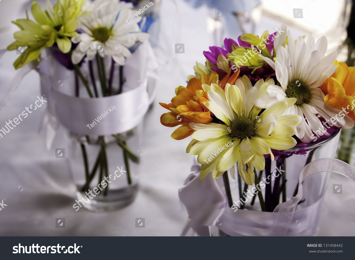 Wedding Flowers Used Glass Vases On Stock Photo Edit Now 131458442