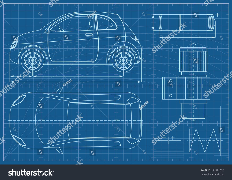 Blueprint background electric car stock vector royalty free blueprint background with electric car malvernweather Gallery