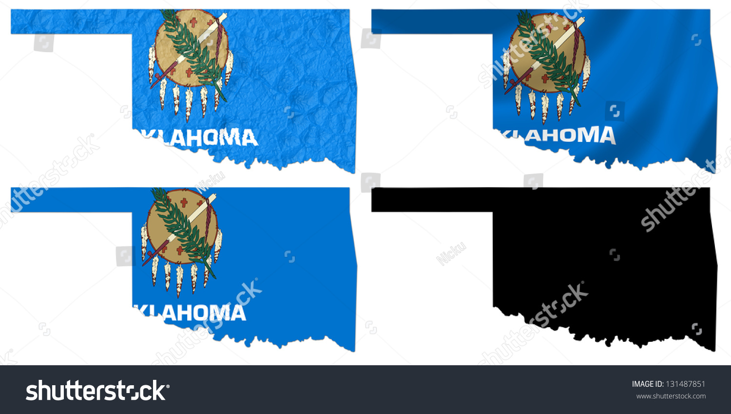 us oklahoma state flag over map collage