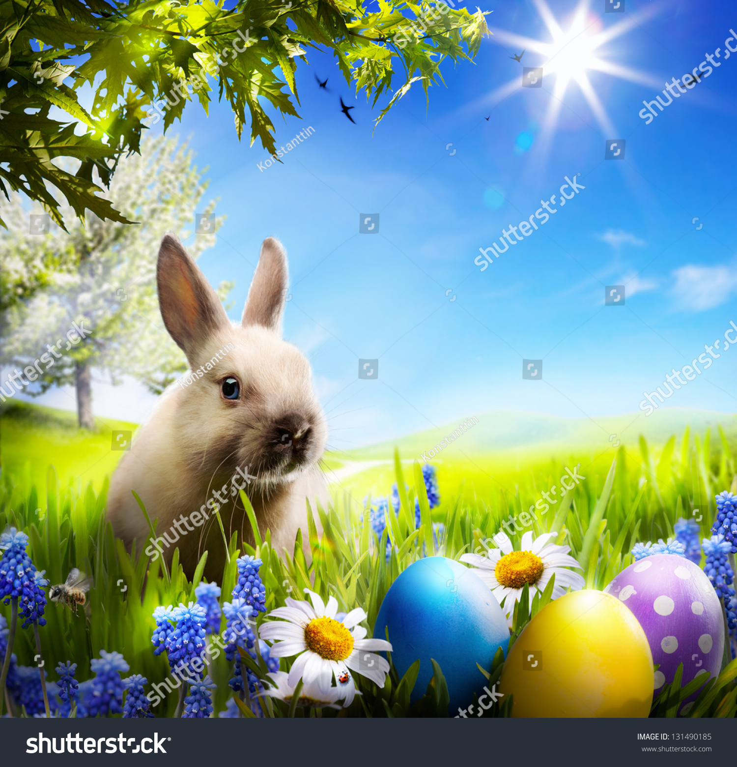 Art Little Easter Bunny Easter Eggs Stock Photo 131490185 ... for Real Easter Bunny With Eggs  177nar