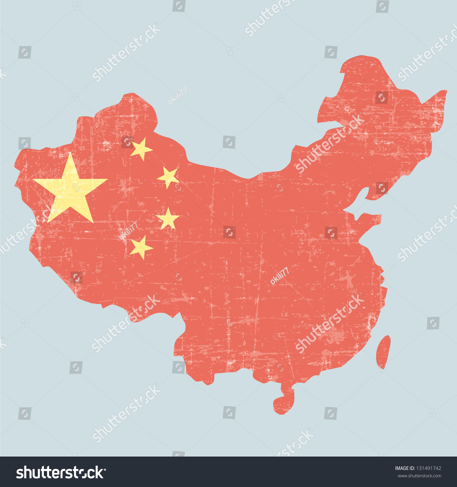 China Map Poster.China Vintage Mapold Looking Poster Stock Illustration 131491742
