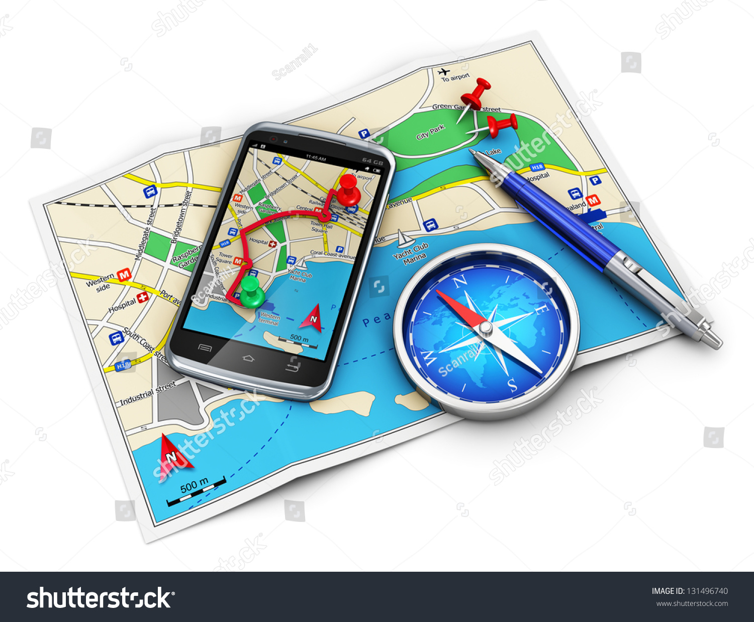 Mobile GPS navigation, travel and tourism concept: modern black glossy ...