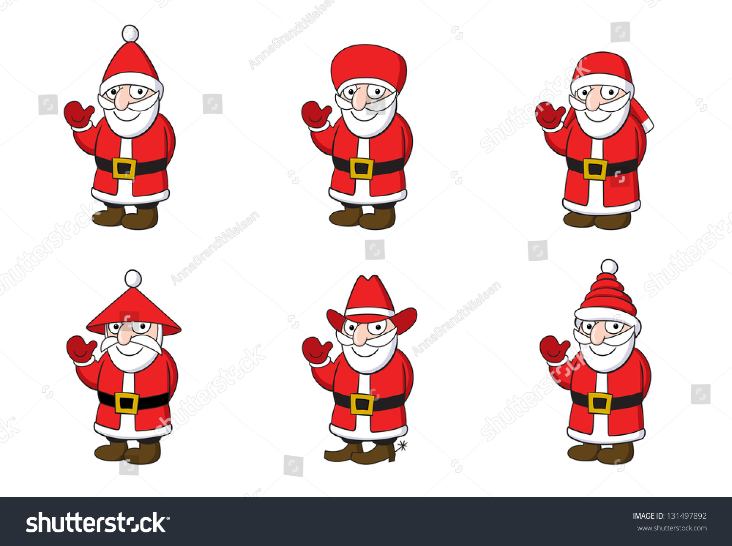 Collection Six Santa Claus Santa Claus Stock Vector (Royalty Free ...