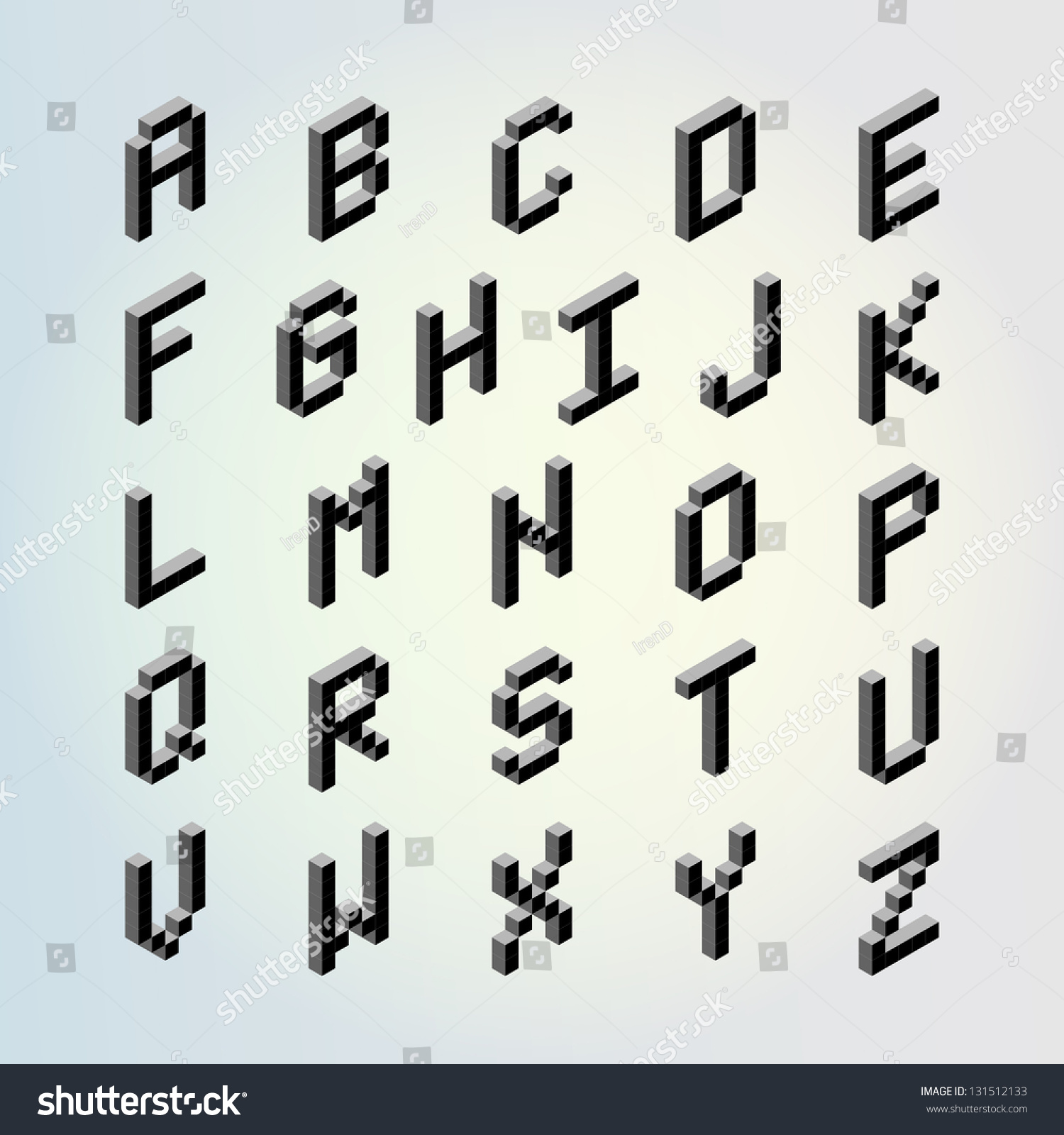3d Digital Pixel Font Design Vector Set (Letters