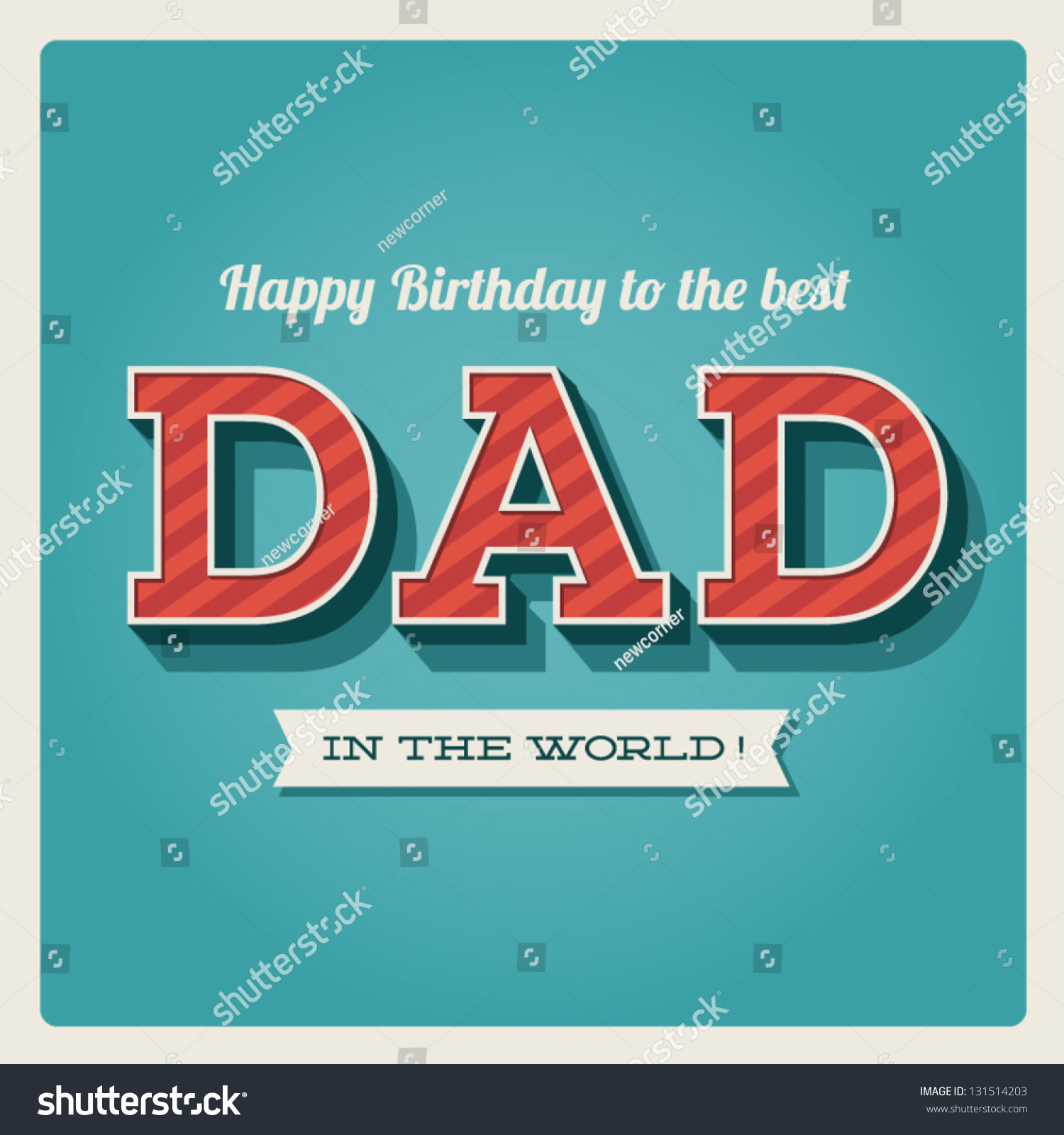 Happy Birthday Card Retro Type Font Stock Vector 131514203