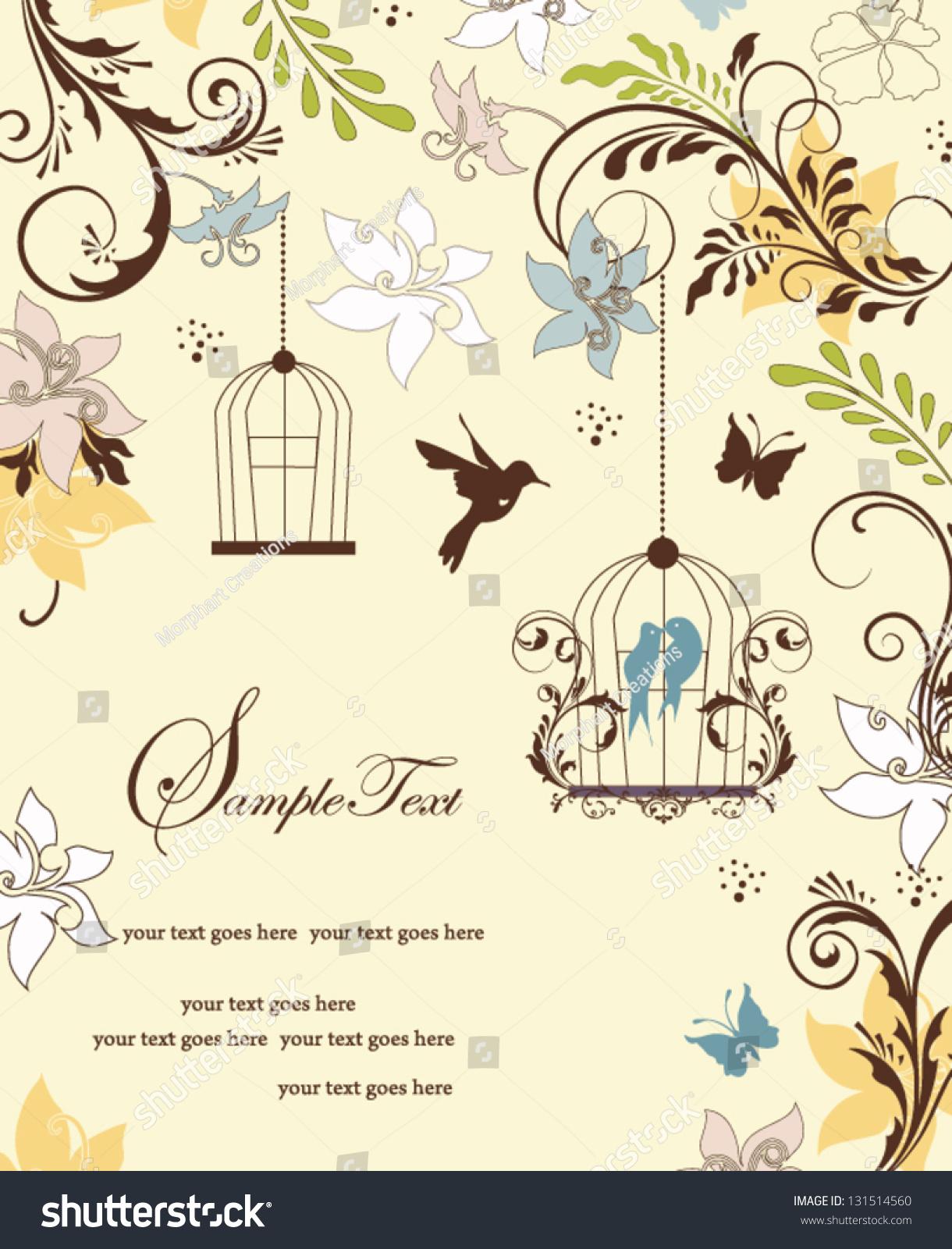 Vintage Birdcage Wedding Invitation Card Stock Vector (2018 ...