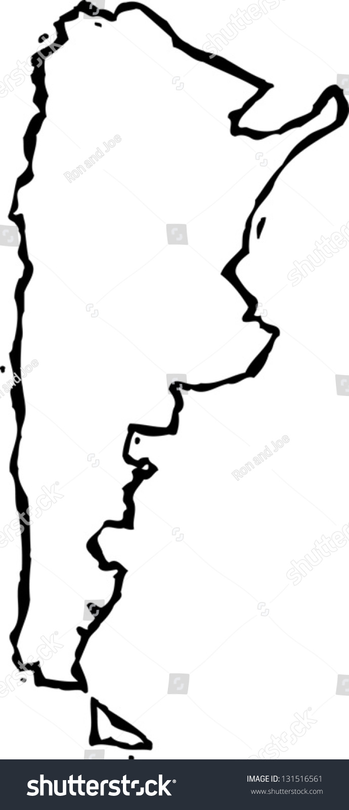 Black White Vector Illustration Map Argentina Stock Vector - Argentina map black and white
