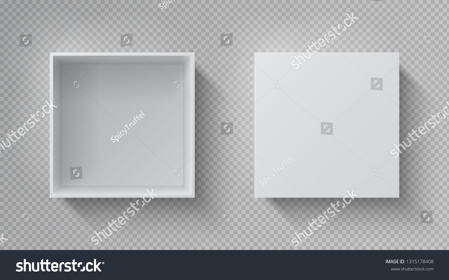 Realistic box top view. Open white package mockup, cardboard closed gift box blank paper pack. Square container vector design template #1315178408
