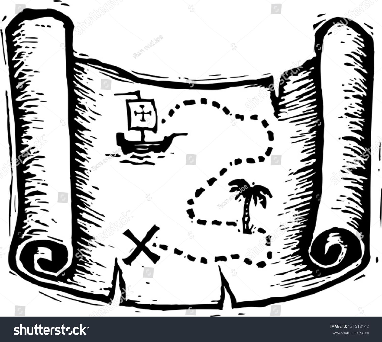 Black White Vector Illustration Treasure Map Stock Vector 131518142 - Shutterstock