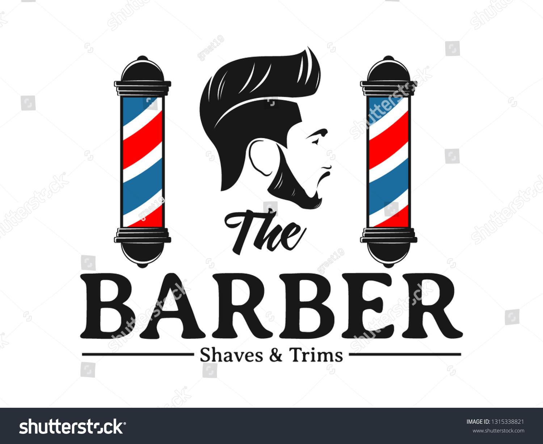 Men Barbershop Hairstylist Banner Logo Badge Stock Vector Royalty Free 1315338821