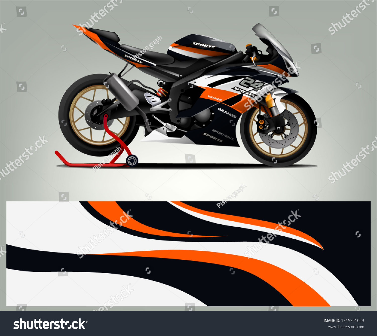 Sport bike sticker decal design abstract background vector concept for vehicle vinyl wrap and