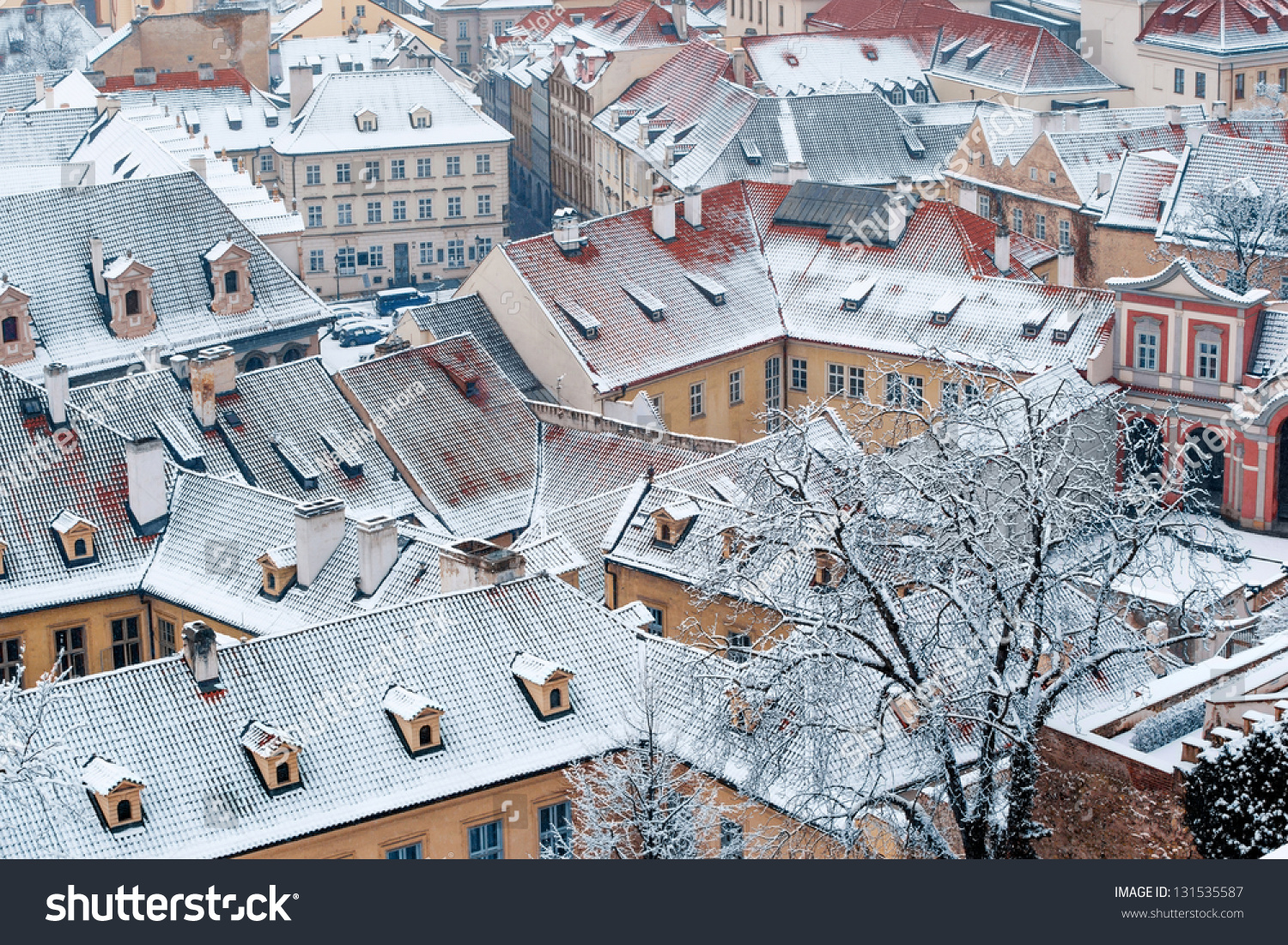 view on the winter garden and roofs of ledebursky palace prague