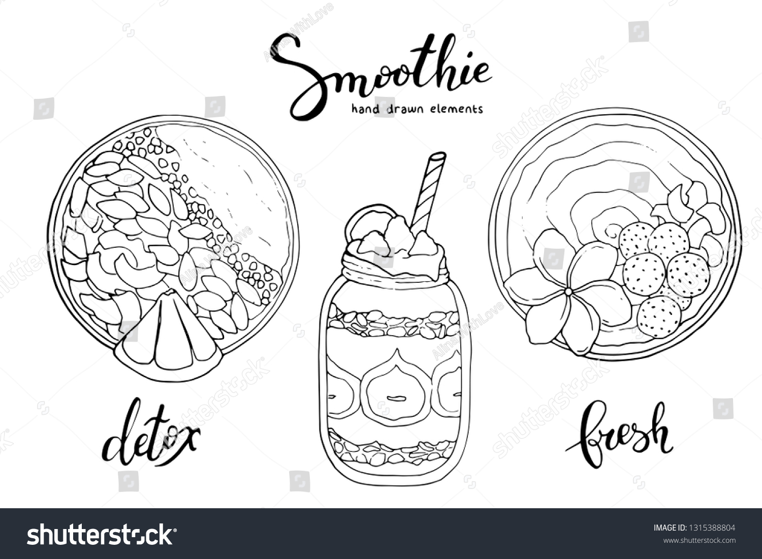 Smoothie Bowl Doodles Set Healthy Colorful Stock Vector