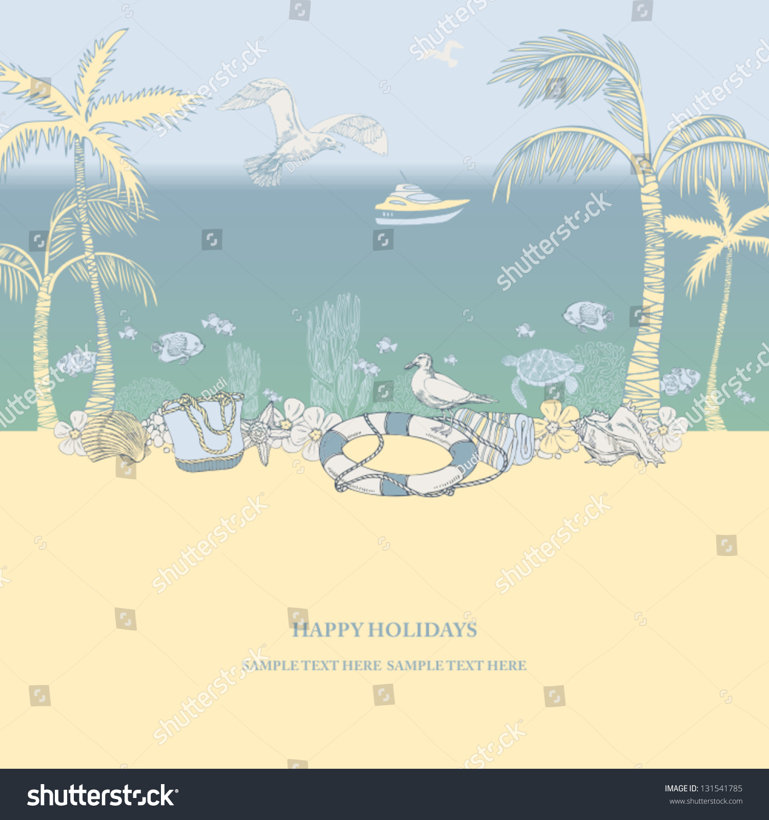 Beach Theme Card Stock: Beach Abstract Background Travel Theme Beautiful Stock