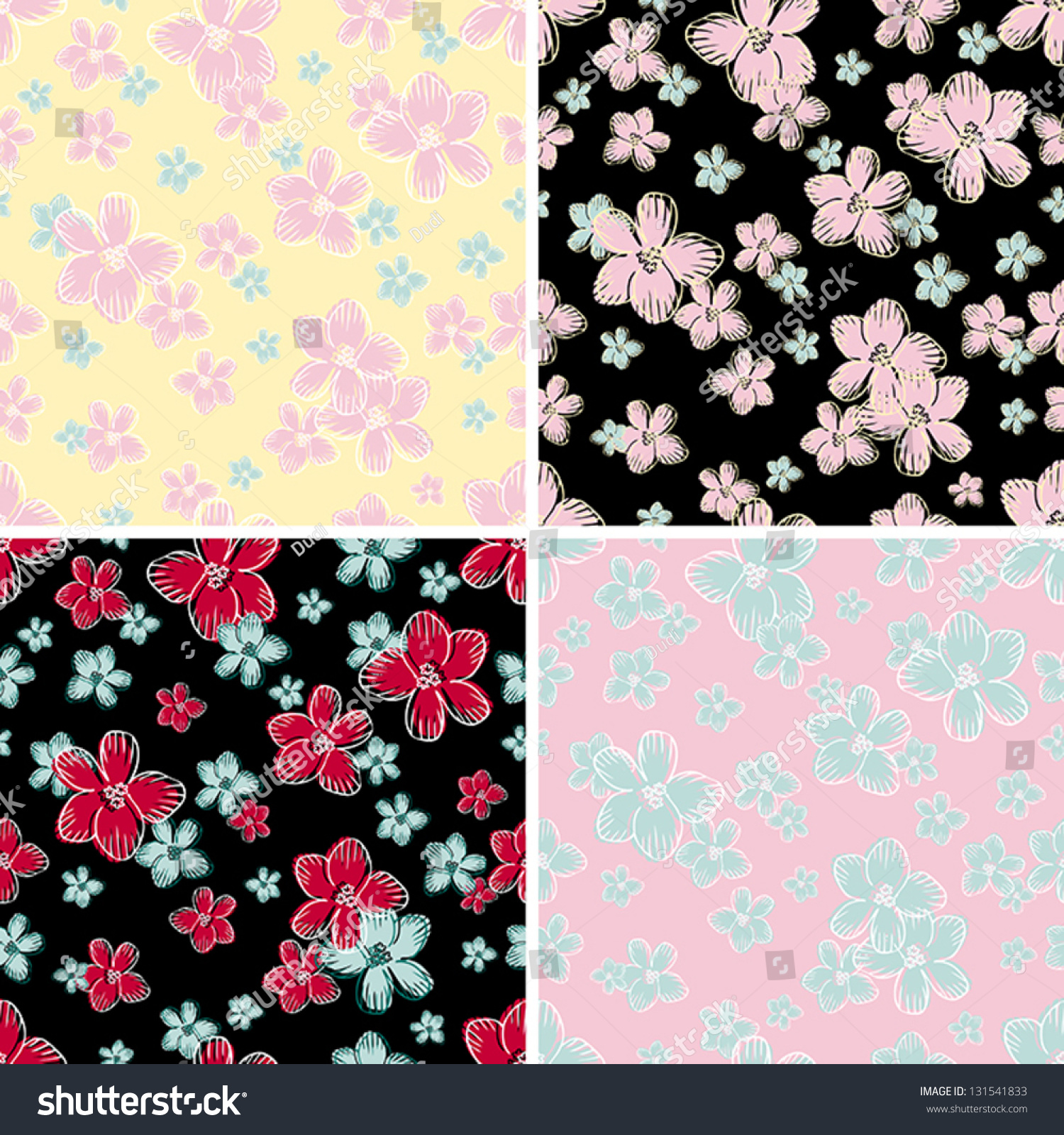 Vintage Floral Backgrounds Set Retro Seamless Stock Vector