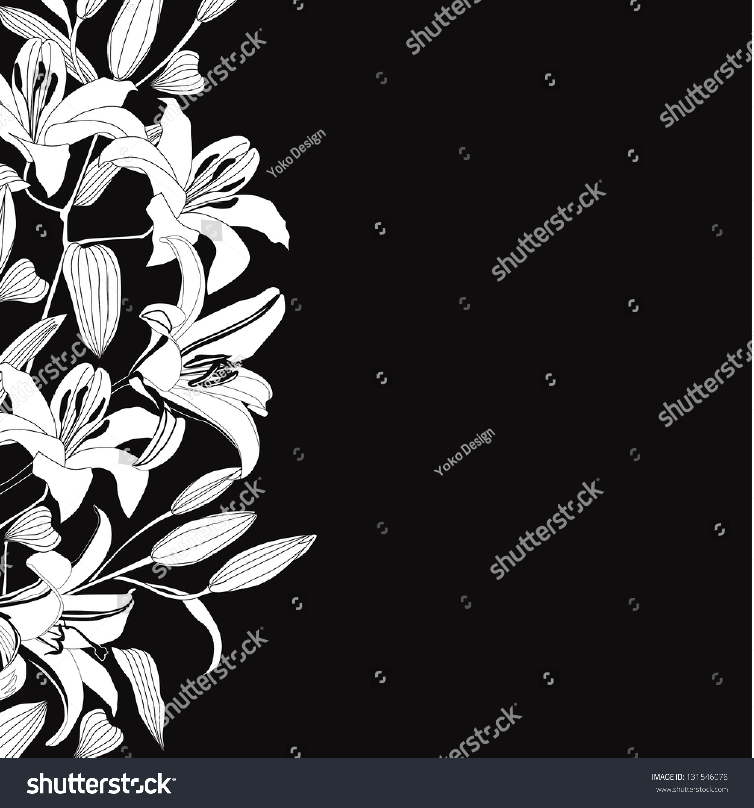 Black White Background White Flowers Lily Stock Vector Royalty Free